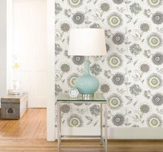 A delightful #blue and green Scandinavian inspired design of a #contemporary #floral burst, coats walls in adoring style. #wallpaper Order today at http://lelandswallpaper.com/store/Wallpaper%20Catalog/Floral/Item:Show:Maisie%20Green%20Floral%20Burst%20Wallpaper%2019SSII