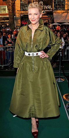 CATE BLANCHETT The actress opts to pop the collar of her deep army green Dior Haute Couture coat dress for a screening of Blue Jasmine at the Zurich Film Festival –and since it's Cate, that choice reads more posh than preppy.
