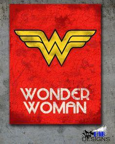 Wonder Woman Retro Poster Minimalist Art Poster Print Wonder Woman Art Poster Print 12x16
