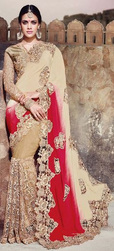 #Indian #bride Play with #red and #beige in an aura of #glamour! Code: 180349 Beige and Brown, Red and Maroon color family Bridal Wedding Sarees with matching unstitched blouse. #Designer #Saree! #Sari #Embroidery #DesignerWears #Occasion #IndianDresses #Partywears #Indian #Women #Bridalwear #Fashion #Fashionista #OnlineShopping #Lehenga #DesignerBlouse *Free Shipping Worldwide*