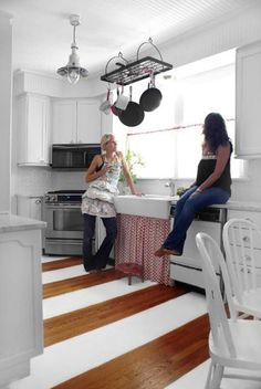 Perfect idea for the kitchen soffits that I hate -- beadboard!