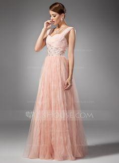 A-Line/Princess Sweetheart Floor-Length Chiffon Prom Dress With Beading Pleated (018005043) - JJsHouse