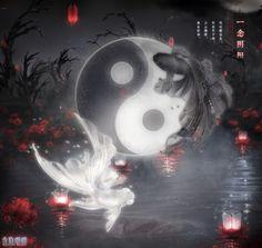 Ying Yang Wallpaper, Blood Wallpaper, Wallpaper Iphone Cute, Galaxy Wallpaper, Fish Wallpaper, Yin Yang, Foto Logo, Emo Anime Girl, Japanese Drawings