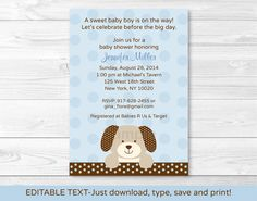 Puppy Dog Baby Shower Invitation INSTANT by LittlePrintsParties