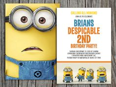 Kids Birthday Invitation Despicable Me 2 - Modern, Contemporary Kids birthday Invitation - Back to back -Printable, Digital on Etsy, $10.00