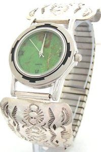 Men's Sterling Silver Watch | Mohave Green Turquoise Watch Face | Native American Jewelry