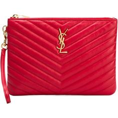 Saint Laurent medium 'Monogram' clutch ($710) ❤ liked on Polyvore featuring bags, handbags, clutches, red, yves saint laurent handbags, red purse, yves saint laurent purse, monogrammed clutches and quilted purse