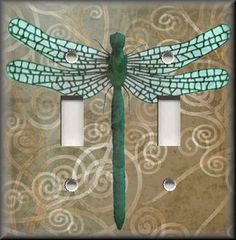 Light Switch Plate Cover - Dragonfly With Tan Swirl Background - Home Decor on eBay!