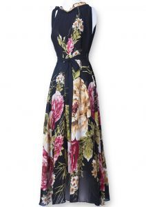 Black Sleeveless Belt Floral Full-Length Dress