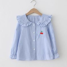 Pretty Strawberry Embroidery Striped Long-sleeve Shirt for Girl