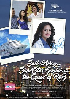 Beautiful days are truly here, as the Queen of R&B, Kyla sails on Star Cruises with a special CONCERT CRUISE on SuperStar Gemini this October 23, 2016!  FOR MORE DETAILS PLEASE CONTACT US: Landline: (02)515.6227 Mobile Number: (0920)837.5990 Email: info@djrtravelspecialists.com / djrtravelspecialists@yahoo.com  @djr_travel #djrtravelspecialists