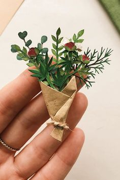 Tiny cut paper flowers