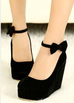 Round Toe Bow Wedges High Heel Platform Flat Oxford Casual Creeper Shoes Black Bow cute cute cute black wedges I absolutely adore these!Black Bow cute cute cute black wedges I absolutely adore these! Prom Shoes, Women's Shoes, Me Too Shoes, Shoe Boots, Dress Shoes, Platform Shoes, Ugg Boots, Nike Shoes, Platform Wedge