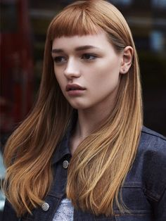 Strawberry blonde asymmetrical haircuts hair, hair styles, l Hairstyles With Bangs, Pretty Hairstyles, Short Fringe Hairstyles, Fringe Haircut, Stylish Hairstyles, Trend Pony, Hair Day, New Hair, Short Bangs