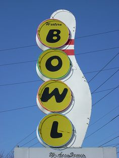 Bowling Alley Sign outside of Indianapolis, route 40 (National Road) West of town by whflood, via Flickr
