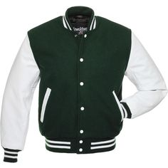 Forest Green Wool and White Leather Letterman Jacket - C107 ($150) ❤ liked on Polyvore featuring outerwear, jackets, varsity letter jackets, white leather jacket, leather varsity jackets, leather letterman jacket and leather jackets