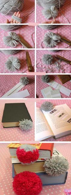 Pom-pom bookmarks, diy bookmark, book club gift, book inspiration