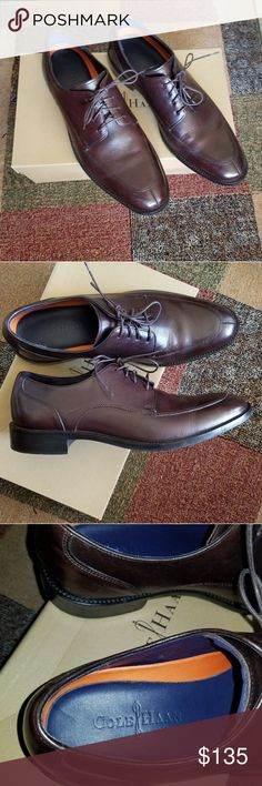 """Cole Haan shoes THESE ARE AN 8 1/2 BUT FIT LIKE A 9, example, there's about 1/2"""" space behind my heel when I put them on. dark wine colored dress shoes, very comfortable, wore once, fit a little big so never wear them Cole Haan Shoes Oxfords & Derbys"""