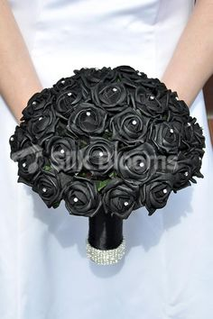 Modern Black Rose and Crystal Bridal Wedding Bouquet CHERIE