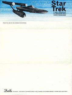 letterheady:  In 1967, just a few months after Star Trek debuted on television, the show's creator - Gene Roddenberry - used this very letterhead for all business correspondence. Gene Roddenberry, 1967 | Submitted by Dale Macy