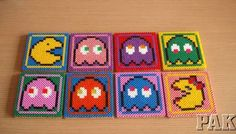 Large Pacman/Ms & Ghosts Cork Backed 4 Coaster Set.Gaming Retro Hama Bead