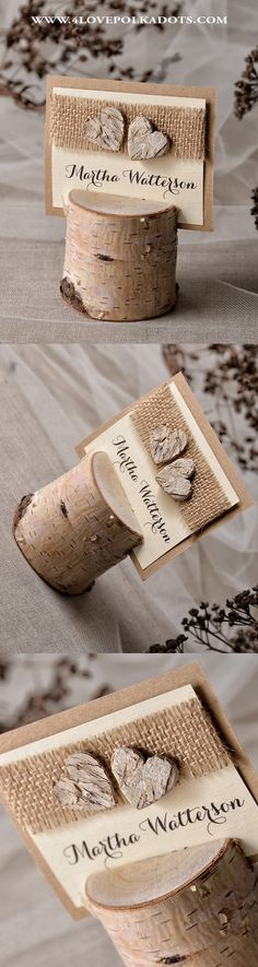 Rustic Place Cards with Birch Bark Hearts and Holder. Handmade from eco papers with addition of burlap. Lovely accent on the wedding table ! #weddingideas #countrywedding #rustic