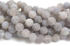 gray dragon vein agate - grey frosty gemstone beads - agate semi precious stone - wholesale gemstone beads - 6-14mm round beads - 15inch