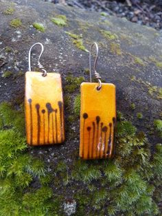 Sunset Orange Enamel Earrings Sterling Silver Earrings Bright Orange Enameled Earrings