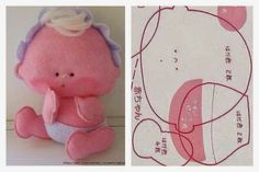 ARTESANATO COM QUIANE - Paps,Moldes,E.V.A,Feltro,Costuras,Fofuchas 3D: 36 moldes… Sewing Toys, Sewing Crafts, Felt Baby, Bear Doll, Felt Toys, Soft Dolls, Felt Ornaments, Stuffed Toys Patterns, Doll Patterns