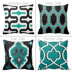 Teal White Black Geometric  Ikat Turquoise by PrimalVogueHomeDecor
