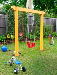 Simple swing set with cute plane swing