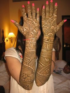 Bridal henna or mehndi designs.