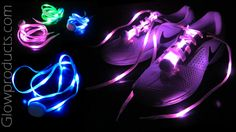 Bright Glowing LED Shoelaces! https://glowproducts.com/us/light-up-led-shoelaces #GlowingShoelaces #LightUpShoelaces