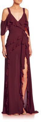 ELIE SAAB Cold-Shoulder Silk Gown