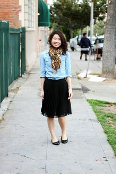 This is my fav casual look by far...black tulle skirt...classic flats...jean jacket...and add texture with a funky scarf!