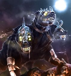 laclillac on deviantART - Cerberus, the watchdog from Hell. Fantasy Dragon, Dragon Art, Mythical Creatures Art, Fantasy Creatures, Dark Fantasy Art, Fantasy Artwork, Fantasy Beasts, Anime Wolf, Fantasy Illustration