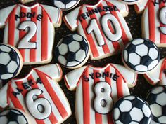 SugarBliss Cookies: SugarBliss Soccer Jerseys Fancy Cookies, Cut Out Cookies, Cute Cookies, Royal Icing Cookies, How To Make Cookies, Cupcakes, Cupcake Cookies, Sugar Cookies, Cookie Desserts