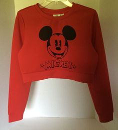 NWT Womens Disney Mickey Mouse Exclusive Forever 21 Red Long Sleeve Crop top | Clothing, Shoes & Accessories, Women's Clothing, Tops & Blouses | eBay!