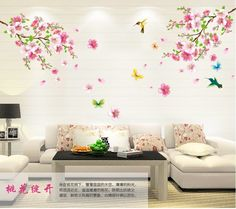 Large ElegantFlower Wall Stickers Graceful Peach Blossom birds Wall Stickers Furnishings Romantic Living home decor sticker & $7.59