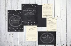 Digital Wedding Invitations With Chalkboard String Lights - print these at home or have them printed for you on eco-friendly paper!