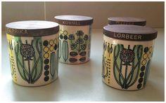 SOLD Scandinavian hand painted Jie Gantofta small jars (Set 4)