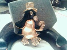 Vintage Kenneth Jay Lane Penguin Pin Top Hat & Cane #KennethJayLane