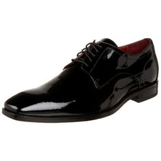 BOSS Black by Hugo Boss Men`s Recco Lux Patent Formal Lace Up,Black,8.5 M US