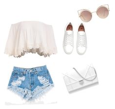 """""""#romantic #chic #summer #white #glass #shoes #topcrop #shorts"""" by diana-dyana on Polyvore featuring moda, Levi's e MANGO"""