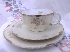Stunning Rosenthal Art Nouveau tea cup, saucer and plate - tea trio by SwallowCAntiques on Etsy