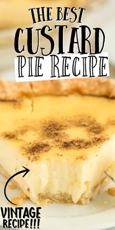 Custard pie is an old fashioned, southern dessert that people have been making for nearly 200 years. With eggs and milk being the main ingredient to make a custard filling – and nutmeg sprinkled on to Pudding Desserts, Custard Desserts, Custard Tart, Köstliche Desserts, Custard Filling, Delicious Desserts, Dessert Recipes, The Best Custard Pie Recipe, Old Fashioned Egg Custard Recipe