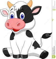 Cartoon Cow | Illustration of Cute cow cartoon sitting.
