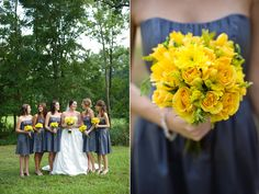 Love this way of using yellow and the bridesmaid dresses!!