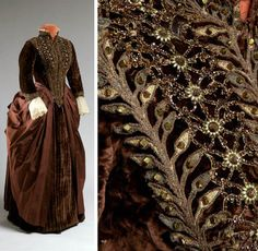 Carriage dress, 1885. Silk and taffeta.  Agnes Etherington Art Centre, Queen's Univ., Kingston, Ontario, via The Velvet Highway. Photos by Paul Litherland.