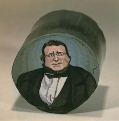Photo: A murrina of Count Cavour by Giacomo Franchini (30mm diameter) ca. 1862. Photo by LH Selman.
